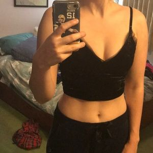 Black Velvet Crop Top